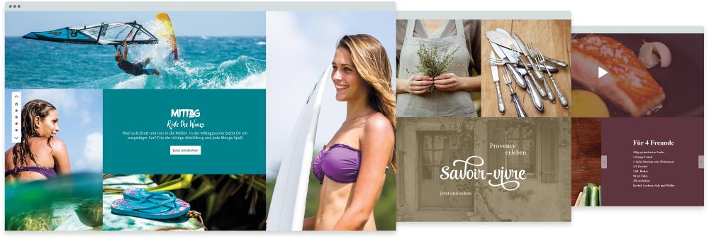 Screenshot Shopware Komposition Einkaufswelten